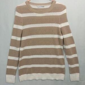 Alfred Sung Brown & White Striped Sweater